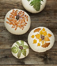 We love this naturally brilliant idea from shopterrain.com. Just use ModPodge to découpage a white gourd with pressed leaves. You can harvest the foliage from your own backyard!