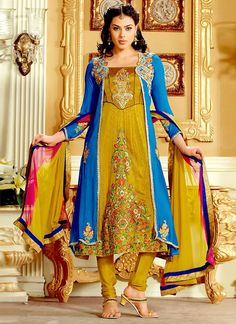 Enticing Green And Blue Color Chiffon And Jacquard Anarkali Suit