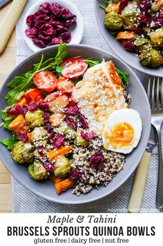 Healthy grain bowl idea - this Maple Tahini Brussels Sprouts Quinoa Bowl packed with vegetable goodness! Dairy free, gluten free & nut free, with a vegan or vegetarian option.