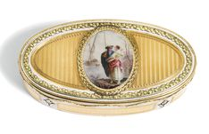 A two-colour gold and enamel snuff box, probably French, late 19th century, in homage to Charles Le Bastier of navette form, the lid inset with an earlier French enamel medallion of a fisherman and his wife by a lake, within a laurel wreath, on a vertical wavy engine-turned ground within white enamel and acanthus borders, the base and sides similarly decorated, the rim with gold laurel swags, Paris prestige marks including maker's mark of Charles Le Bastier, date letter for 1774-1775 and…