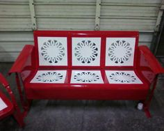 Beautifully Restored Candy Red And White Metal Vintage Porch Glider.Intricate Wedding Ring Pattern! Gorgeous....