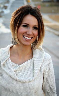 Cute Short Dark Brown to Blonde Ombre Hair