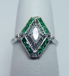 Antique ART DECO Marquise Diamond French Emerald Platinum Filigree Ring, $1,221.00