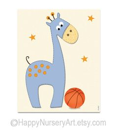 Basketball nursery art animals giraffe elephant by HappyNurseryArt