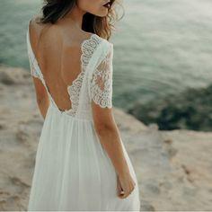 Beach wedding dress, lace wedding dress, boho wedding dress, wedding dress bohemian, open back wedding dress. Lace Beach Wedding Dress, Open Back Wedding Dress, Top Wedding Dresses, Bohemian Wedding Dresses, Beach Dresses, Boho Dress, Wedding Gowns, Lace Dress, Bride Dresses