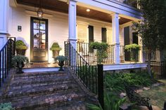 Wrought iron fence on porch
