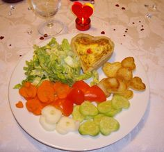 Valentine's Day heart-shaped quiche and salad