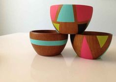 These simple wooden bowls are made more special with bright painted shapes.   38 DIY Gifts People Actually Want