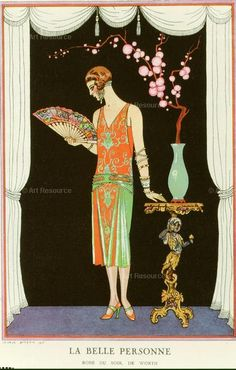 , 1920s, Art Deco, Fashion, French, Hairstyle, Japonisme, Jewelry, Shoes, Tunic, Vase, Woman