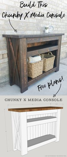 Woodworking Ideas How to build a DIY chunky X media console - we need this upstairs to replace the existing dresser! - Learn how to build a rustic farmhouse DIY Chunky X Media Console with free building plans by Jen Woodhouse of The House of Wood. Diy Furniture Projects, Diy Wood Projects, Furniture Plans, Rustic Furniture, Home Projects, Furniture Design, Antique Furniture, Furniture Dolly, Outdoor Furniture