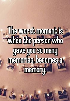 "Friendship Quotes : ""The worst moment is when the person who gave you so many memories, becomes a me… Quotes Deep Feelings, Hurt Quotes, Mood Quotes, Life Quotes, Quotes Quotes, Sadness Quotes, Qoutes, Beau Message, Whisper Quotes"