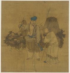 A Fishmonger and his customer 1644-1911   Qing dynasty   Ink and color on silk…