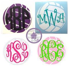 Monogrammed Volleyball Decal for Car, Laptop, Locker - 4 in x 4 in Custom Sports Sticker - Team School Spirit Personalized Decal on Etsy, $7.00
