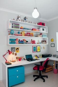 Home office, shelves, colorful