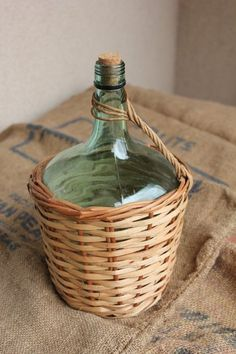 French demijohn green wine bottle with wicker by FrenchVintageHome