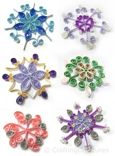 Colored cardstock quilled snowflakes