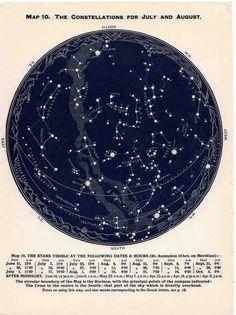 1942 constellations star map original vintage celestial print june july august - northern hemisphere.