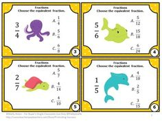 FREE Equivalent Fractions: FREE Download - You will receive 6 printable task cards focusing on the Common Core 4th grade skill of equivalent fractions.   https://www.teacherspayteachers.com/Product/Equivalent-Fractions-Task-Cards-FREE-Download-4th-5th-Grade-Math-Games-1124413