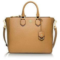 Tory Burch Robinson Pebbled Square Tote Bag ($550) ❤ liked on Polyvore featuring bags, handbags, tote bags, totes, structured handbag, square tote bag, tory burch purse, tory burch handbags and beige tote