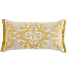 Intricate embroidery and a classic global medallion give our pillow true star quality. You'll love how it stands out when mixed with the rest of your decor. Plumped with soft poly filling, so this pillow is ready to brighten your space.