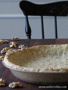 This Low Carb Walnut Pie Crust is great for no-bake chocolate, cheesecake and pumpkin pies. It's super easy to make. | low carb, gluten-free, casein-free, lactose-free, paleo, keto |