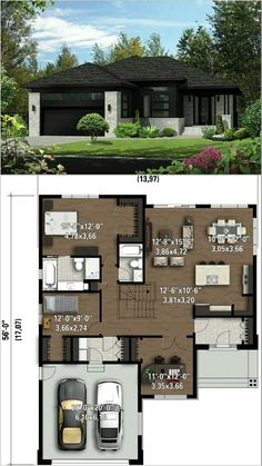 Perfect for small lot departamentos Sims House Plans, House Layout Plans, New House Plans, Dream House Plans, Modern House Plans, Small House Plans, House Layouts, House Floor Plans, Bungalow House Design