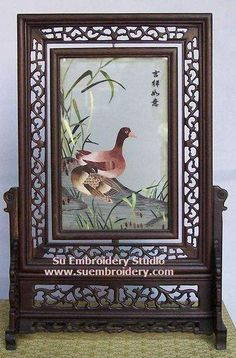 Ducks, double-sided embroidery work, one embroidery two identical sides, Chinese Suzhou silk embroidery art, Su Embroidery Studio