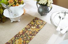 Burlap Table Runner Fall Table Runner Harvest by FairStreetCrafts, $12.00