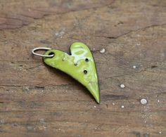 Enamel Lime green Charm or Pendant with silver by HammeredandFired