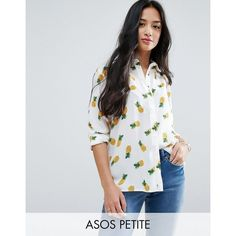 ASOS PETITE Blouse in Pineapple Print ($49) ❤ liked on Polyvore featuring tops, blouses, multi, petite, petite blouses, asos, woven top, asos tops and pineapple blouse