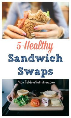 Make your brown bag homemade lunch more nutritious with one or more of these five healthy sandwich swaps. Healthy Food Swaps, Healthy Lunches For Kids, Healthy Toddler Meals, Healthy Food To Lose Weight, Lunch Snacks, Good Healthy Recipes, Bag Lunches, Work Lunches, Kid Snacks