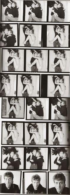 Contact sheet for John Lennon and Yoko Ono's photo-shoot, photographed by Annie Leibovitz. 5 hours later Lennon was killed. December 8th 1980