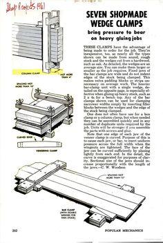 Seven shopmade wedge clamps. Popular Mechanics, September 1960 - Google Books