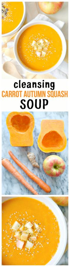 Cleansing Carrot Autumn Squash Soup - vegan, gluten-free, oil-free, low-fat and…