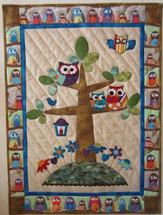 a Quilt Lady: Wednesday Owl finished Quilt Baby, Owl Baby Quilts, Cute Quilts, Owl Quilt Pattern, Baby Quilt Patterns, Owl Patterns, Owl Applique, Applique Quilts, Turtle Quilt