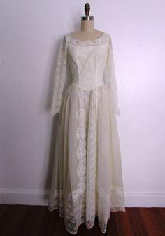1960s lace full length wedding dress // vintage by VivianVintage8, $293.00