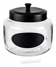 Another great find on #zulily! 108-Oz. Round Black-Lid Glass Jar #zulilyfinds