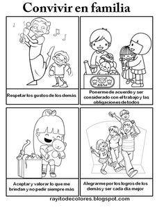 Reglas De Convivencia Familiar En Dibujos Para Colorear Imagui In 2020 Comics Material Art
