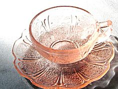 Childs Pink Depression Glass Cup and Saucer