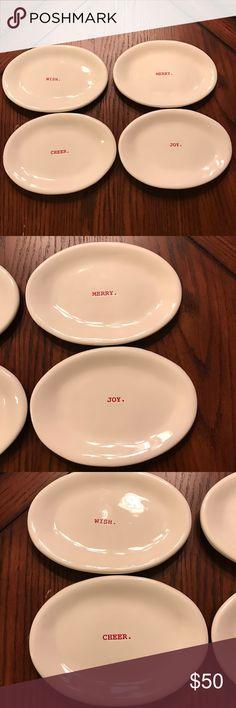 Rae Dunn 4 Rae Dunn plates wish. Merry. Joy. And  cheer. Rae Dunn  Other