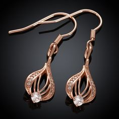 4.3$  Watch here - http://diehq.justgood.pw/go.php?t=117535601 - Pair of Gold Plated Rhinestone Openwork Drop Earrings