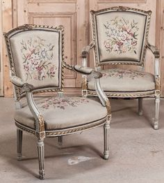Pair Antique Louis XVI Tapestry Armchairs | Antique Armchairs | Inessa Stewart's Antiques #armchairs #furniture #french