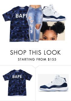 """""""12/26/17"""" by princess-kia54321 ❤ liked on Polyvore featuring A BATHING APE and NIKE"""