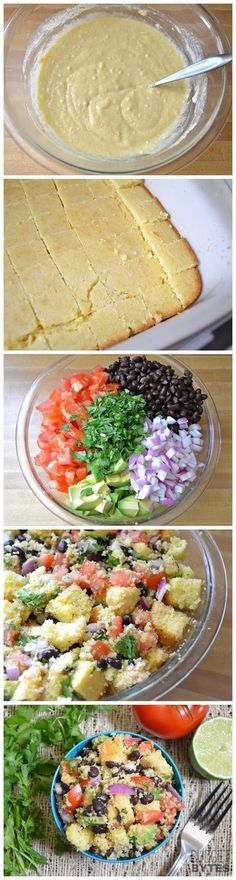 Southwest Cornbread Salad witih Honey-LIme Dressing by budgetbytes via recipefavorite #Salad #Cornbread #Southwest