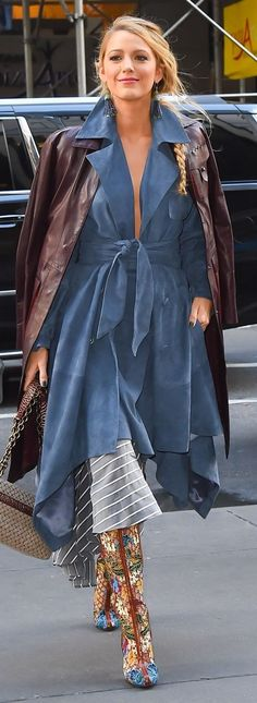 Blake Lively in a blue trench dress, leather coat, and floral boots - click through to see more of Blake's amazing outfits