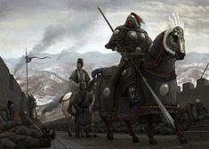 """Guerreiro Jin """"1115-1234"""" sob armadura pesada, em inspeção sobre uma das sessões da grande muralha chinesa (Por ?)"""