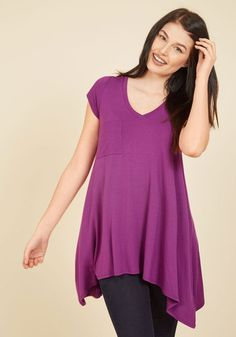 A Crush on Casual Tunic in Berry. If laid-back looks make you bat your lashes, then this loose T-shirt will send your heart aflutter! #purple #modcloth