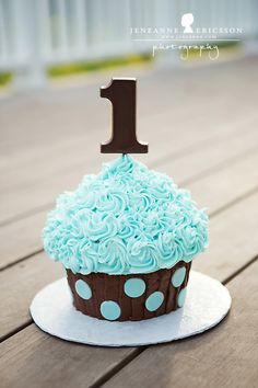 Jeneanne Ericsson Photography » blue and brown polka dot Giant Cupcake