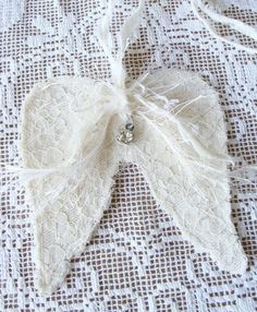 Lace and Fabric Angel Wings Angel Wings Wall Decor Country Cottage Style White Christmas Wedding Baby Soft Sweet RomanticTattered Mini Small