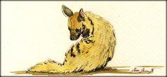 "Striped Hyena study africa great animal wildlife 8x4"" 21x9.5 cm art original Watercolor painting by Juan bosco"